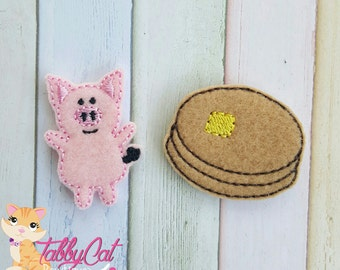 If You Give a Pig a Pancake Machine Embroidered Feltie Appliques Pig and Pancake Felties Pig Felties Bow Supplies Give a Pig a Pancake