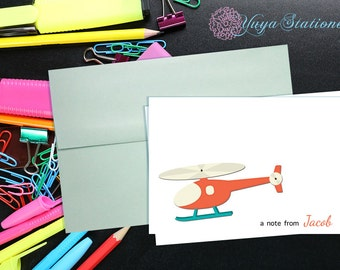 Personalized helicopter Stationery / Custom Stationery / helicopter Stationery Set / Custom helicopter notes/ Set of 12 Kid note cards
