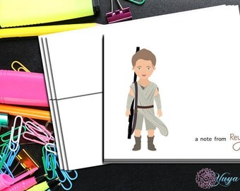 Star Wars Rey Thank You Cards / star wars stationery / Rey Stationery Set / personalized star wars thank you cards / Set of 12