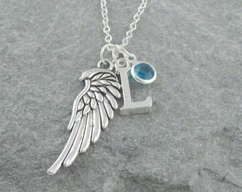 Angel wing necklace, silver chain, personalized jewelry, initial necklace, swarovski birthstone, memorial jewelry, birthstone necklace
