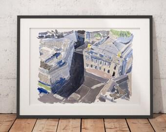 Paris Watercolor Print Opera Palais Garnier Wall Art Giclee print