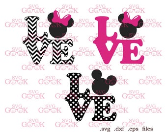 Love Mickey Mouse, Minnie Mouse SVG cut files, Minnie Ears svg cut files for use with Silhouette, Cricut and other Vinyl Cutters, svg files