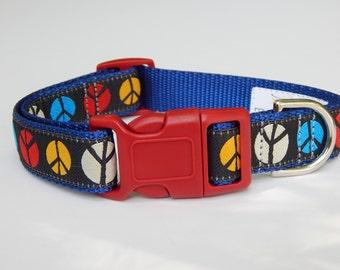 Peace Sign Dog Collar,  Multicolor Dog Collar, Adjustable Dog Collar, Boy Dog Collar