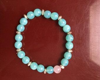 Turquoise Bracelet ft. Gold + Pink Details