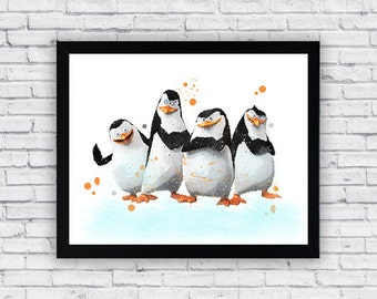 Penguins of the Madagascar watercolor print, Penguins of the Madagascar Wall Art, Penguins of the Madagascar Poster