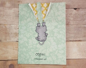 Oops Belated Birthday Greeting Card- Happy Birthday- Cat Card- Kitty- Sorry-Tabby Cat