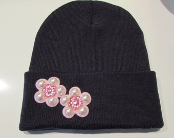 """Navy Blue Beanie with Hot Pink Rhinestone and Pearl Flower """"Cynthia"""""""