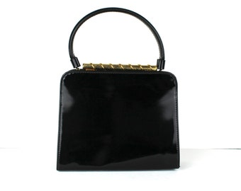 Vintage Mr. Mart 1960s Black Gold Vinyl Handbag Purse Bag