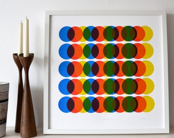 Primary Moves- A large original screen print in red, yellow and blue, modern, abstract, circles, mid century modern style silkscreen print