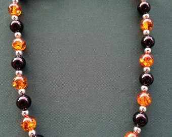 Black obsidian and honey amber gemstone necklace
