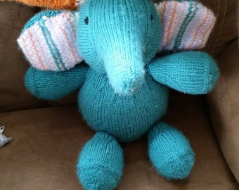 Knitted stuffed baby elephant