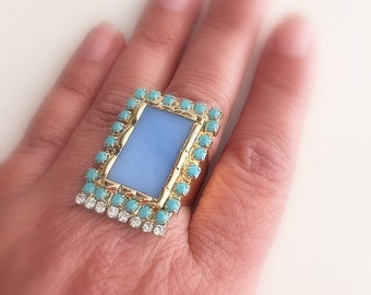 Turquoise Gold Ring, Statement Ring, glass ring, Light Blue ring