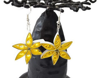 Earring Quilling Northern Star Yellow Grey