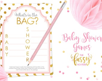 What's in the Bag Baby Shower Game, Baby Shower Game Printable, Instant Download, Girl Games Printable, Printable Games, Pink and Gold