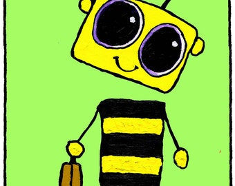 Worker Bee Robot Greeting Card