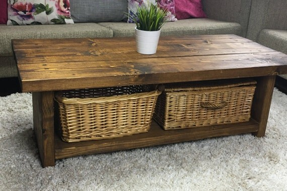 Handmade Chunky Rustic Style Coffee Table Unit Solid Wood Dark