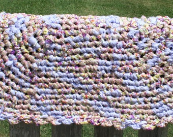 "Shabby Chic Oval Rag Rug 25"" X 36""; Bathroom; Bedroom;Nursery; Living Room; Crochet; Handmade; Vintage; Cottage Chic; Blue and White"