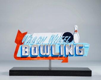 Wagon Wheel Bowling Neon sign Photo / neon cutout / bowling art / vintage neon / bowling sign / 50's decor / retro decor / roadside sign