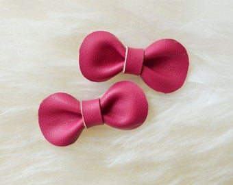 Hair Bow | Toddler hair clip, baby hair clip, girls hair clip, toddler hair bow, baby hair bow, baby bow, dark pink leather hair bow