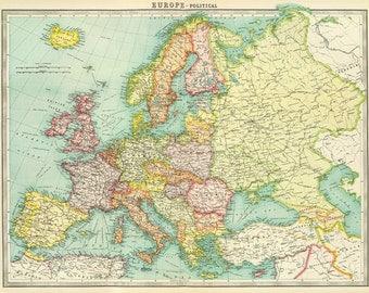 Old Europe map printable digital download.Vintage Europe Map-Instant Digital Download.PRINTABLE map.Europe Political Map.Vintage digital map