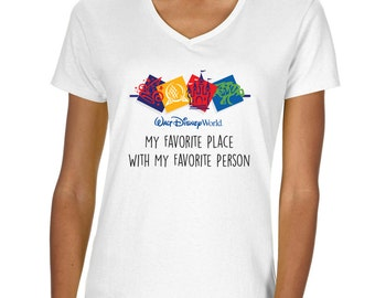"Disneyworld ""My favorite place""  Vneck Tshirt"