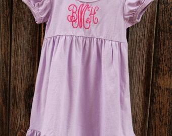 Lavender Ruffle Dress with Monogram