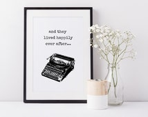 """Happily Ever After Sign, Modern Wall Art Prints, """"And they lived happily ever after"""" Print, Retro Style Print, (frame NOT included)"""