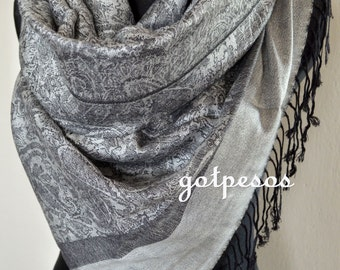 Pashmina Scarf Shawl for Women GRAY/BLACK