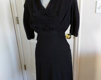 1940s Vintage Dress, Black Textured Rayon, Ruching and Pleats, Bow Detail, TLC