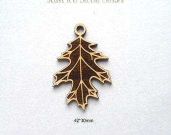 Cute Laser engraved OAK Leaves wood pendants / Wood jewelry / Oak leaf / Wood pendants / Laser engraved wood / Wood shapes /Oak leaves/ Wood