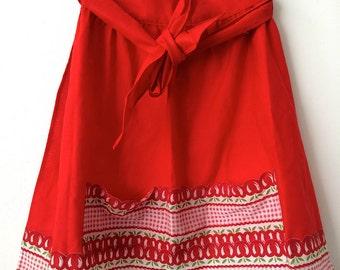 Cherry print fire red apron
