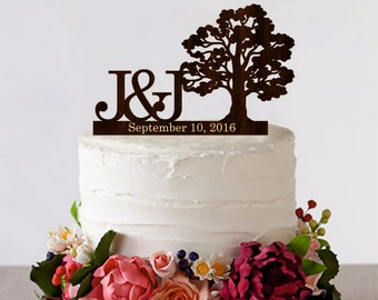 Tree Wedding cake topper Personalized Monogram Wedding Cake Topper Rustic Wedding Cake Topper