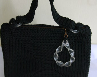 Bohemian Black Crochet Vintage Purse