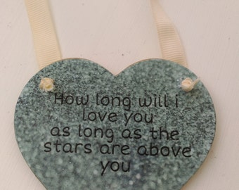 hanging heart, How long will i love you.., heart keepsake, wooden heart, keepsake gift, memorial, embelished heart, home decor, shabby chic