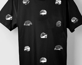 Hedgehog Pattern Black T-Shirt
