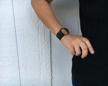 Joanna Gaines Inspired Leather Bracelet / Modern Leather Bracelet with Brass Ring - Chocolate Brown