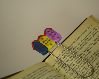 Polymer Clay COLORFUL HOUSES Bookmark Paperclip