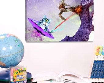 Kids Art, Playful Fantasy Art, Wall Art For Kids, Cat Art, Photography Print, Science Fiction Art, Kids Wall Decoration,Canvas Art Print