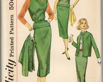 Simplicity 2389 ~ Size 13 ~ 1957 ~ Misses' Skirt, Overblouse, and Jacket