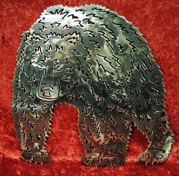 Grizzly Bear, Nature, Woodland, Mountains, Log Cabin Decor, Ski Lodge Decor, Mountain Home Decor, Bear, Metal Grizzly Bear Art, Metal Decor