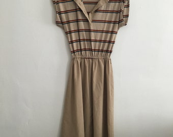 1970's Taupe // Color Striped Dress