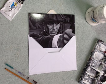 Peaky Blinders inpired GREETING CARD (smooth GLOSSY finish, blank), Thomas Shelby, Cillian Murphy, Birthday card, vintage style, 1920's U K