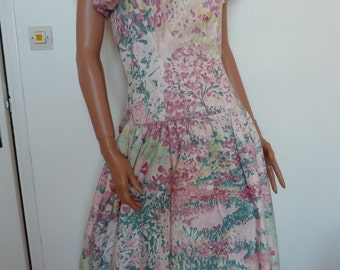 Beautiful Floral Dress w Petticoat S. G. Gilbert Made in USA Size 6 Eighties 80s Big Bow Wedding Garden Party Frock