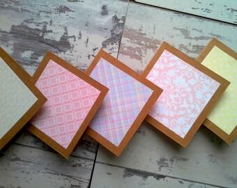 Set of 5 mini notecards set// mini note cards// blank notecards// blank cards// mini cards // kraft cards