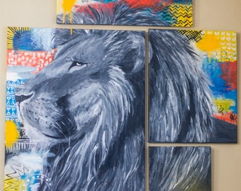 Abstract Lion's Head Painting