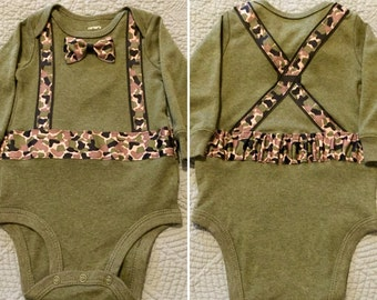 Camouflage Suspenders Onesie in Olive Green with FREE pair of socks while supply lasts