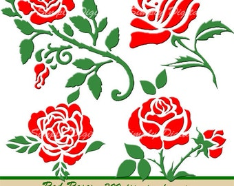 Red Roses. Flower Clipart. Wedding Clipart. Scrapbooking. Greetings. Invites. Instant Download. SD.