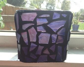 Purple mosaic candle holder