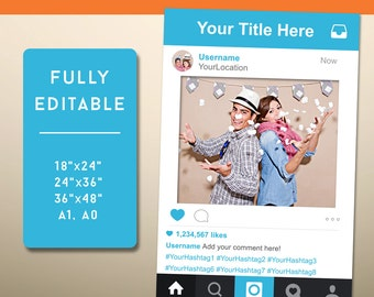 Photo Booth Props, Instagram Frame, Instagram Sign, Social Media Photo Prop, Social, Instagram, Instagram Prop, INSTANT Download PDF - Sale