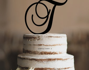 Personalized Monogram Initial Wedding Cake Toppers -Letter T, Custom Monogram Cake Toppers, Traditional Initial Toppers-(T285)